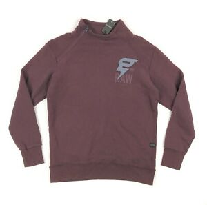 G Star Raw Mens Large Houston Sweat Burgundy Maroon 1/4 Zip Pullover Sweatshirt