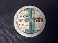 Vintage Car Tax Disc Bentley 1956