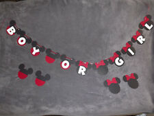"""Mickey & Minnie Mouse """"BOY OR GIRL"""" Banner. Great for baby showers!!"""