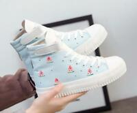 Womens Sweet Cute Ankle Boots Lace Up Canvas Shoes Students Platform Casual