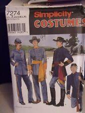 Simplicity 7274 Xs-Xl Civil War Mens Teen Boy Military Uniform Costume New