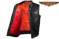 Concealed Carry Leather Outlaw MC Biker Vest with RED LINER and GUN POCKET