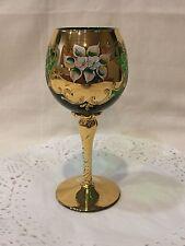 Vintage Bohemian Czech Emerald Green 24K Gold Hand Painted Floral Goblet