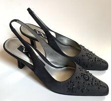 Nina Black Beaded Womans Pointy Toe Sling Back Heels Dress Shoes Evening 6M