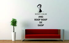 Betty Boop-Keep Calm Vinilo Decorativo pegatinas de pared calcomanía