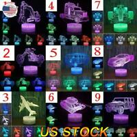 Remote Touch Control 3D LED Night Light Car series LED Table Desk Lamp Kid Gift