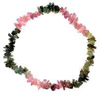 Premium CHARGED Rainbow Tourmaline Crystal Chip Stretchy Bracelet REIKI Energy!
