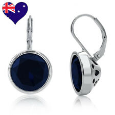 Bella Rhodium Plated  Blk Blue Sapphire Cubic Zirconia Drop Earrings Bridal Gift