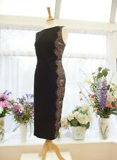 STUNNING HOBBS BLACK & NUDE ILLUSION LACE SIDES FITTED BODYCON FITTED DRESS  14