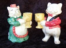 Fitz & Floyd Pair Of Cat Candle Holders Dressed To Kill!