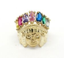 10k Yellow Gold American Apache Face Indian Ring Size 9.25