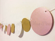 baby pink gold white pearl paper circle bunting party shower wedding decoration