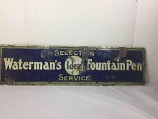 Vintage Waterman's Ideal Fountain Pen Porcelain Sign Selection Service SSP