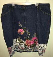 "Monroe & Main Denim Skirt With Lace Embroidery Size 3X Dark Wash Jean 46"" x 23"""