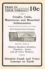 1905 Original Antique Frog In Your Throat Cough Lozenges Drug Medicine Print Ad