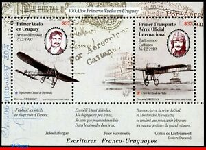 10-02 URUGUAY 2010 FIRST FLIGHTS IN URUGUAY, PLANES AVIATION, FAMOUS PEOPLE, MNH