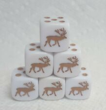 Dice - Set of (6) Koplow's Elk! 16mm White w/Golden Brown Elk as #1 & Pips