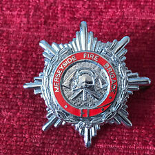 Vintage Merseyside Fire Brigade Chrome Enamel Cap Badge UK Fire Service FB3