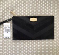 NWT Michael Kors Jet Set Black Wallet Large Wristlet Zip Clutch With Strap $148