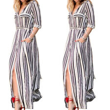 Women Long Sleeve Tunic Shirt Maxi Black White Striped Lady Long Dress Side Slit