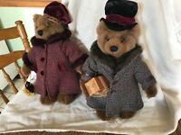 Russ Berrie Oliver & Olivia Bears of the Past tweed coat, plush stuffed bears