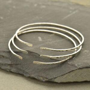 Thin Bangle Adjustable Skinny Bracelet Stackable Sterling Silver Hammered 123