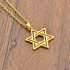 Jewish Star of David Charm Necklace Silver Gold Pendant Chain Statement Jewelry