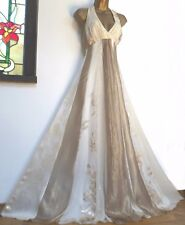 MONSOON BRIDAL✩ STUNNING COPPELIA SILK IVORY & GOLD BRIDAL MAXI DRESS ✩ UK 10