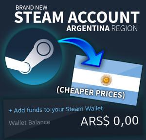 Brand New ARGENTINA STEAM ACCOUNT 🔥 Cheaper Store 🤑 NO VPN Needed ✅