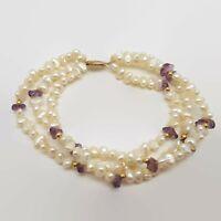 Freshwater Pearl, Amethyst & 14k Yellow Gold Beads & Clasp Multi-Strand Bracelet