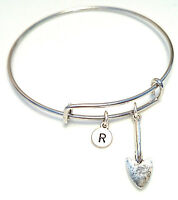 PERSONALIZED Shovel Bangle Bracelet - choose an INITIAL, Gardener Jewelry