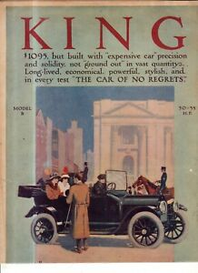 1914 King Model B Touring Original color ad from Scientific American - Rare