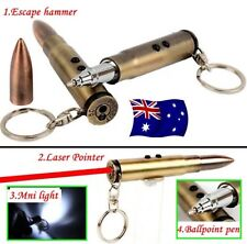 4in1 Bullet Torch / Red Laser / Blank Ink Pen / Hammer Tactical Keyring Key Ring