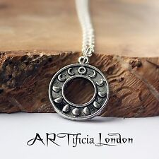 Lunar Phases Moon Necklace Silver Plated Minimalist Jewellery Witch Occult Gift