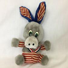Vintage Democrat Donkey Plush Political Demo Striped Red White Blue Patriotic