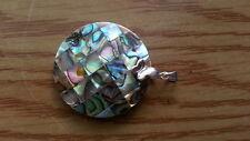 Beautiful Butterfly Abalone Shell Circle 925 Sterling Silver Pendant 9.2g *84L