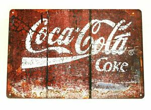 Coca Cola Coke Tin Sign Rustic Vintage Retro Advertising Style Diner Soda Shop