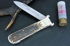 HUBERTUS GERMAN HUNTING FOLDING KNIFE w. CARTRIDGE EJECTOR CALIBER 12 16/ STAG