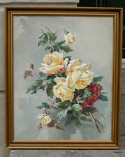 Very fine Still life with yellow and red roses. Signed and dated 1918.