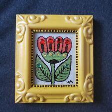 Folk Art ORIGINAL Mixed Media Framed Flower Tulip Leaf Whimsical Gem Glitter