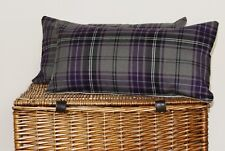 OBLONG PURPLE BERRY GREY TARTAN CUSHION COVERS HEATHER LILAC COUNTRY HIGHLAND ~~