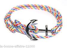 Bracelet mixte homme femme ancre marine mix Hope encre cordon marin nautique