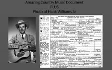Hank Williams Sr DEATH CERTIFICATE + PHOTO Country Music Star Guitar Singer