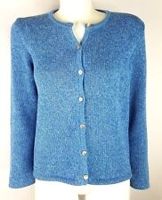 L.L. Bean Womens Cardigan Sweater Blue Button Front Size M Petite