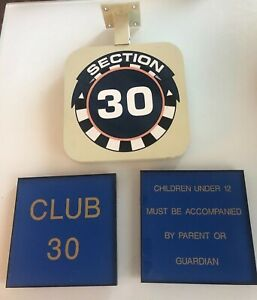 CLUB 30 & Section Signs - Jack Murphy Qualcomm Stadium Chargers Padres - 3 SIGNS