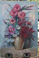 Large Floral Vintage Orig Oil on Canvas, (s) J. Majorena, No Frame