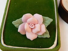British Vintage Hand Made Bisque China Flower Pink Rose Brooch Pin