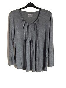 Tu Size 20 Grey Long Sleeve Top -(C85)