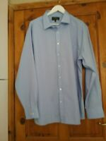 M & S Mens Blue Long sleeved Shirt Size 18.5 Slim fit New