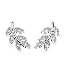 Ohrstecker Ohrringe Blatt Leaf Feder Strass Boho 925 Sterling Silber Filigran